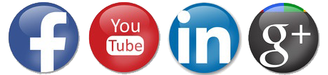 social media icons - follow us on Facebook, LinkedIn, Youtube, and Google Plus